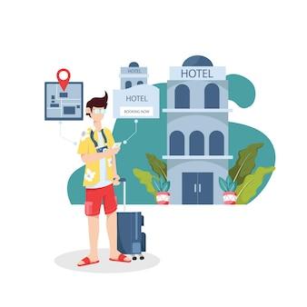 I giovani che utilizzano la tecnologia dell'applicazione mobile prenotano hotel online mentre viaggiano in vacanza