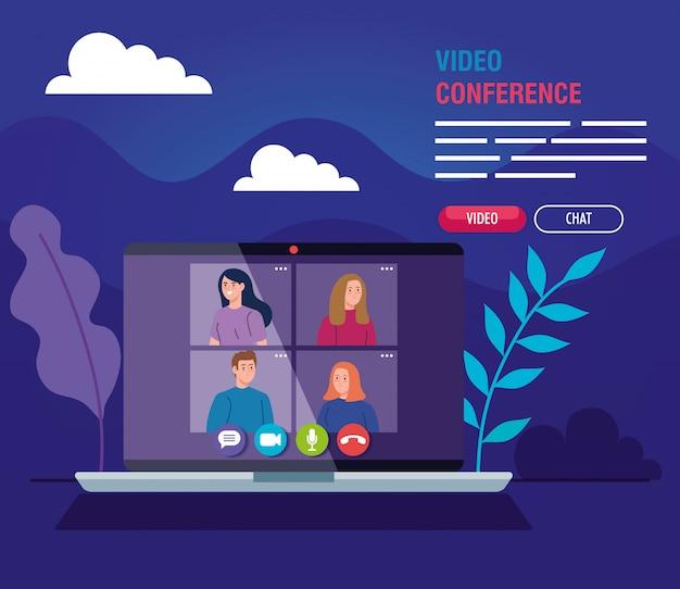 Giovani in videoconferenza in laptop