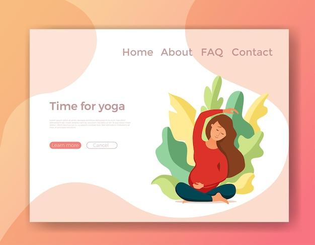 Giovane donna incinta che pratica l'illustrazione di vettore di stile del fumetto di yoga. la ragazza calma e felice si prepara a essere madre. modello di concetto di design per maternità, cliniche mediche, fitness, corsi di gravidanza, poster