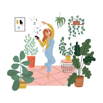Giovane donna graziosa godendo il suo tempo libero a casa ragazza allegra ballando nella sua stanza con le cuffie illustrazione colorata in stile cartone animato piatto isolato