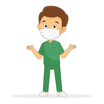 Il giovane medico professionista in maschera protegge il virus corona