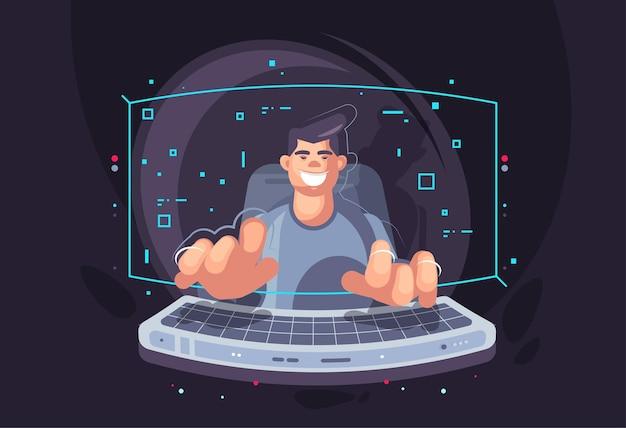 Giovane programmatore. moderne tecnologie di sviluppo software.