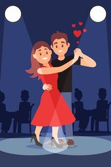 Giovani coppie romantiche che ballano il tango sotto i riflettori luminosi. design piatto