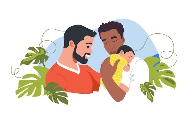 Giovane famiglia dello stesso sesso con modello di cartolina family day neonato