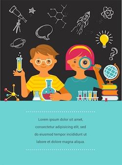 Giovane scienziato. ricerca, biotecnologia, laboratorio chimico e illustrazione didattica