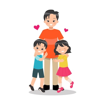 Giovane padre genitore single con i suoi figli ragazzo e ragazza abbracciano il loro papà con amore giorno di padri felice