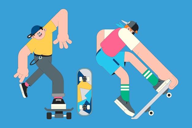 Personaggi di giovani skateboarder su sfondo blu vettore Vettore Premium