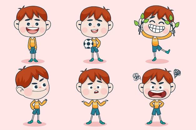 Personaggio di giovane ragazzo intelligente con diverse espressioni facciali e pose della mano.