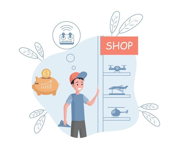 Giovane ragazzo sorridente che sceglie i giocattoli nell'illustrazione piana di vettore del negozio