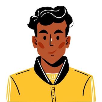 Giovane ragazzo sorridente dalla pelle scura con un taglio di capelli alla moda uomo con una giacca sportiva gialla alla moda
