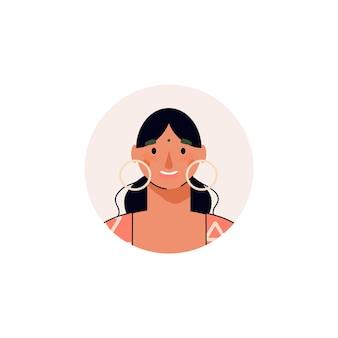 Giovane donna sorridente o illustrazione di vettore del personaggio dei cartoni animati della ragazza isolata