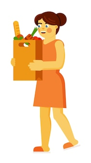 Giovane donna sorridente che cammina con l'illustrazione quotidiana del sacchetto della spesa di nutrimento della drogheria isolata su fondo bianco