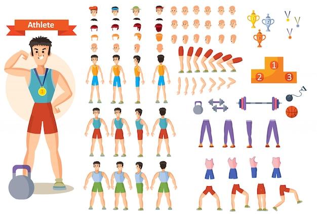 Giovane atleta uomo forte, sollevatore di pesi o bodybuilder in abbigliamento sportivo