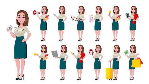 Set di tredici pose di una giovane donna d'affari di successo personaggio dei cartoni animati carino donna d'affari