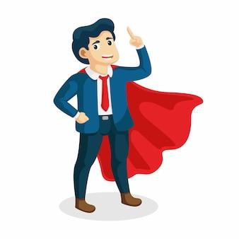 Giovane super uomo d'affari, lavoratore esecutivo in mantello da supereroe.