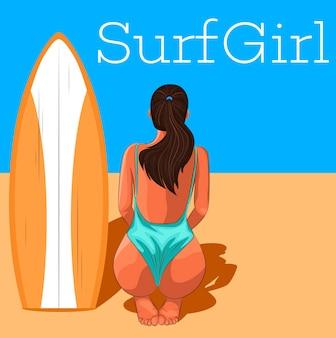 Ragazza giovane surfista in costume da bagno con tavola da surf.