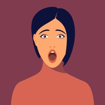 Giovane donna sorpresa con taglio di capelli corto. ritratto di bella bruna stupita. avatar della ragazza per i social network. ritratto femminile astratto, fronte pieno. illustrazione in stile piatto.