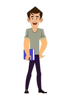 Personaggio dei cartoni animati del giovane libro della tenuta dell'insegnante