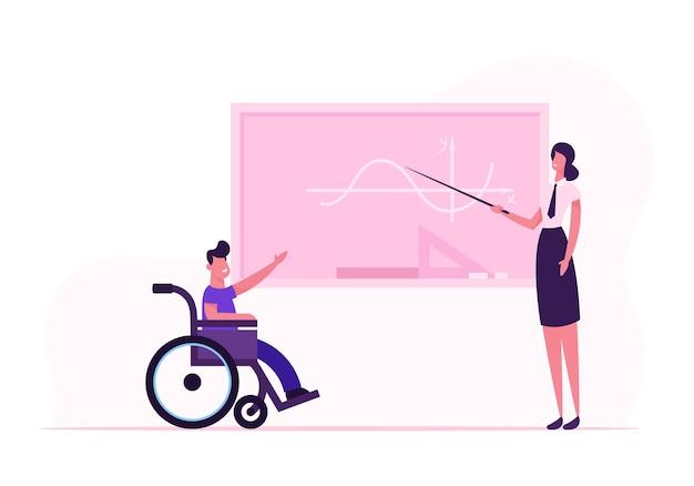 Giovane insegnante donna e ragazzo disabile in sedia a rotelle vicino alla lavagna in aula. cartoon illustrazione piatta