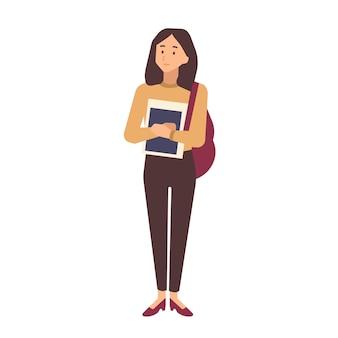 Giovane ragazza della scuola adolescente vestita in abiti casual con libri di testo