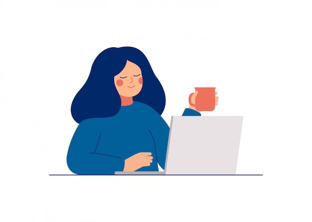 La giovane donna adolescente usa il computer portatile per lavoro o chiacchierando con gli amici. illustrazione piana di vettore del fumetto.