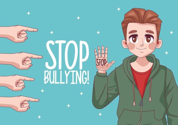 Ragazzo giovane adolescente con stop bullismo lettering e mani indicizzazione illustrazione