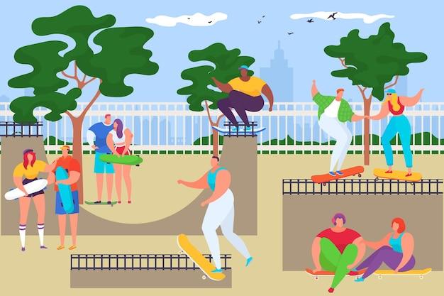 Giovani adolescenti bambini persone insieme cavalcano skateboard hobby allenamento estremo posto speciale piatto vec...
