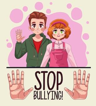 Coppia di giovani adolescenti con stop bullismo scritte e mani stoping