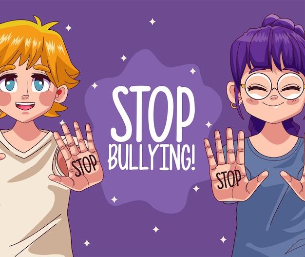 Coppia di ragazze giovani adolescenti con lettering stop bullismo