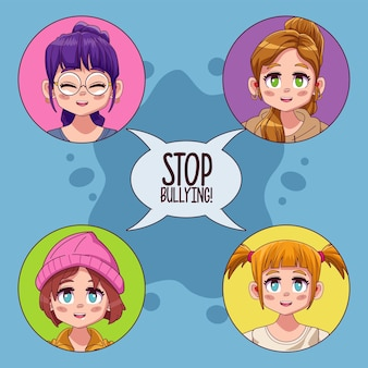 Ragazze giovani adolescenti con smettere di bullismo scritte nel fumetto