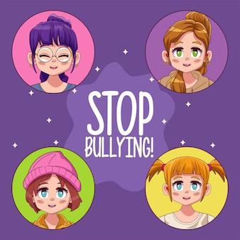 Ragazze giovani adolescenti con lettere di stop bullismo