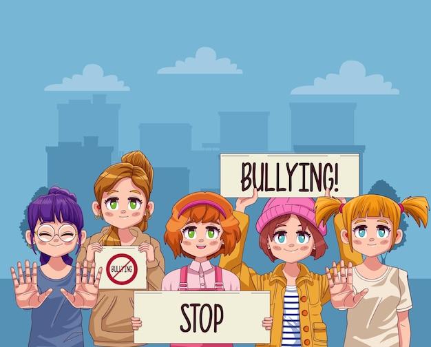 Giovani ragazze adolescenti con lettere di stop al bullismo in striscioni di protesta