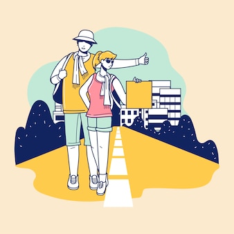 Giovane turista con uno zaino che cammina e si unisce alla bellissima destinazione