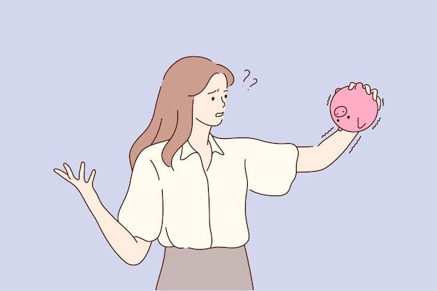 Giovane infelice triste frustrato depresso povera imprenditrice impiegato manager in piedi tenendo la banca di maialini senza soldi. illustrazione di fallimento fidanzato.