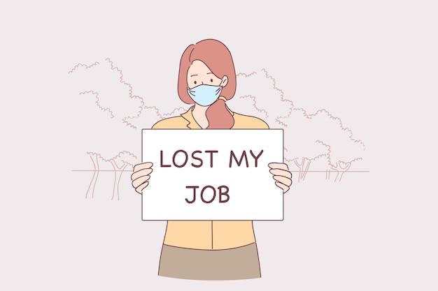 Giovane donna infelice in maschera protettiva in piedi e tenendo perso il mio lavoro segno un mani a causa di una pandemia di virus covid-19