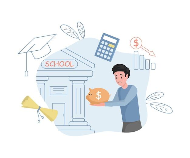 Giovane uomo sconvolto che trasporta risparmi a scuola illustrazione piatta vettoriale