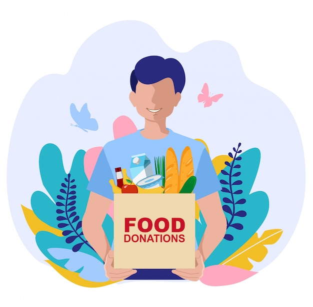 Giovane volontario con scatole di donazione di cibo. illustrazioni di concetto. concetto di donazione di cibo con carattere. può usare per banner web, infografiche, immagini di eroi.