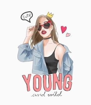 Slogan giovane e selvaggio con la ragazza del fumetto con l'illustrazione delle icone