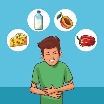 Giovane con mal di stomaco