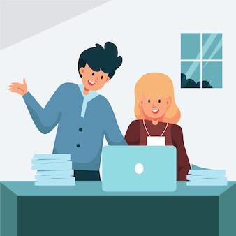 Giovane donna che lavora come stagista presso un'azienda illustrata