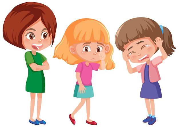 Una giovane donna che fa il prepotente con il personaggio dei cartoni animati di due bambine