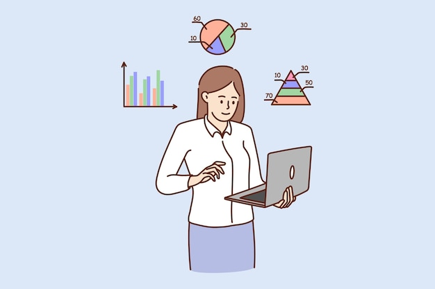 L'analista aziendale della giovane donna lavora con i grafici sul laptop