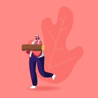 La giovane donna porta la legna per tagliare e preparare il chiaro di luna.