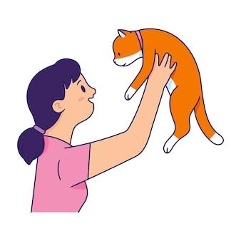 Giovane donna che trasporta un gatto, giovane donna alleva il gatto e sorride vedendo il gatto Vettore Premium