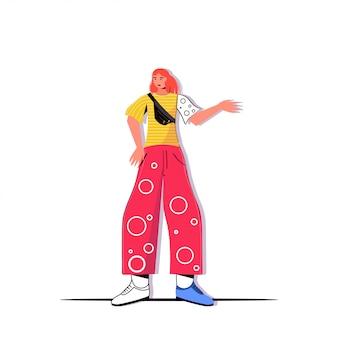 Giovane donna in abiti casual alla moda che punta a mano su qualcosa personaggio dei cartoni animati femminile in piedi posev