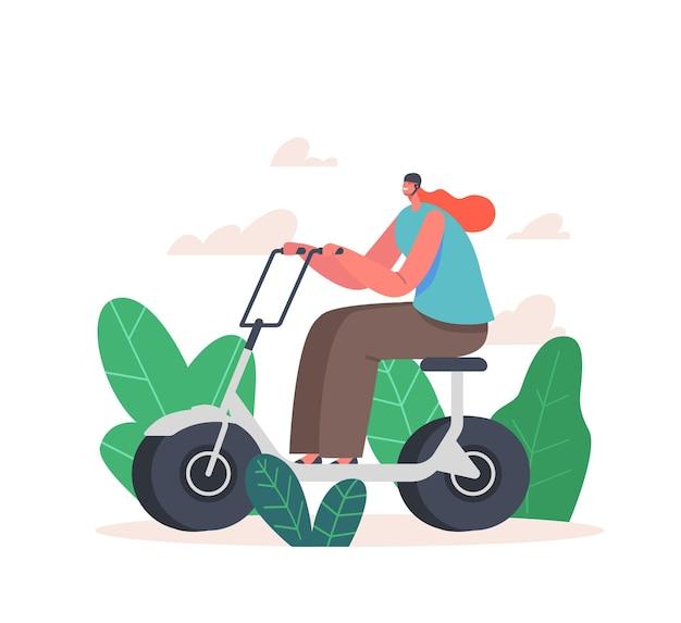 Carattere di giovane donna che guida scooter elettrico o bicicletta nel parco cittadino. ragazza felice in attività dell'abitante del casco all'aperto