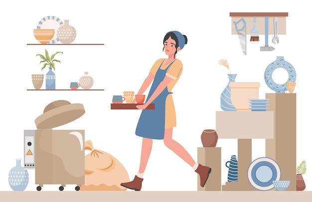 Studio di ceramica pulita della giovane donna per l'illustrazione piana di lezioni di ceramica