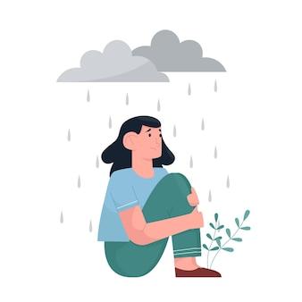 Giovane donna in depressione con espressione triste