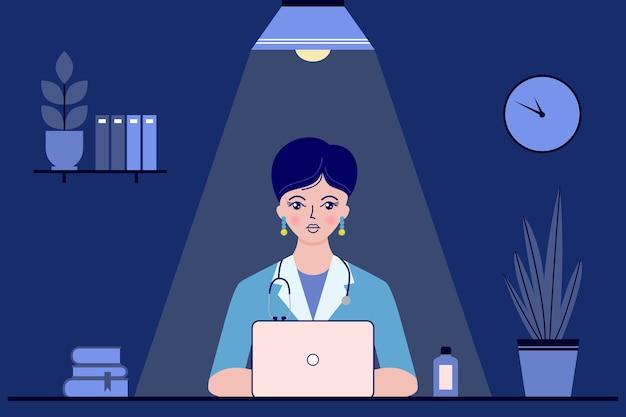 Medico della giovane donna che si siede allo scrittorio nell'ufficio del medico durante la notte. concetto medico.