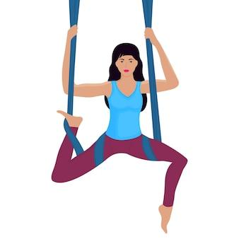 Giovane donna che fa esercizio con l'illustrazione di vettore dell'amaca. yoga aereo.